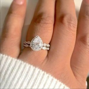 Silver Pear Shaped CZ  Engagement Ring